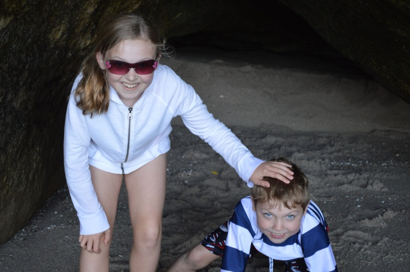 playing in the grottos