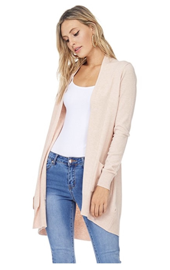 A + D Womens Basic Open Front Knit Cardigan w/ Pockets