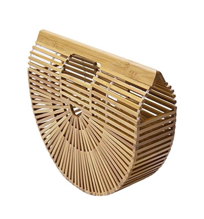 Miuco Womens Bamboo Handbag Handmade  Tote Bag